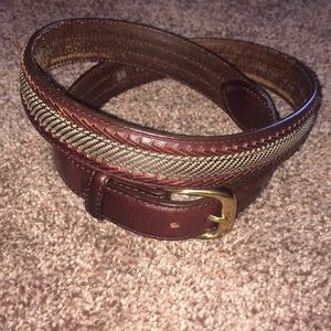 BRIGHTON VTG Braided Leather and Canvas Belt 36""